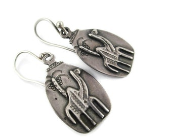 Vintage Egyptian Camel and Date Palm Tree 925 Sterling Silver Earrings