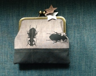Hand printed and embroidered Beetle purse