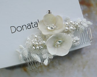 Wedding Head Piece with pearls - Bridal Headpiece - Wedding Headpiece - Bridal Head piece - Bridal Hair Accessories- Bridal hair comb- AMBER