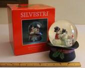 "vintage SNOWMAN Family SNOW GLOBE musical Silvestri top hat Christmas Decor Xmas Water Globe snowglobe w/original box Mom Child Dad fun! 6""h"