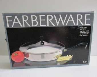"""Vintage NIB FARBERWARE FRYPAN and Cover 12"""" stainless steel construction Aluminum clad bottom Never Used fry pan Skillet & lid"""