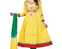 Indian Anarkali Salwar Kameez Yellow and Green Color Cotton Fabric Bollywood Designer Printed Churidar Suit Party Wear Salwar Kameez Suits