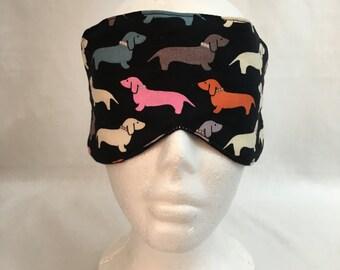 Dachshund Cotton Sleep Mask and Case Set, Eye Mask, Travel Mask