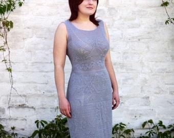 Knitted dress, crochet, knitting, dress, gray dress size 44-48