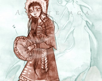 Female shaman and spirit