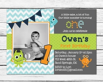 Little Monster Birthday Party Invitation- Printable