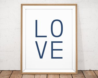 Love Wall Art, Love Printable, Navy Wall Art, Navy Printable Art, Typography Print, Navy Blue Wall Decor, Navy Typography, Wedding Gift Art