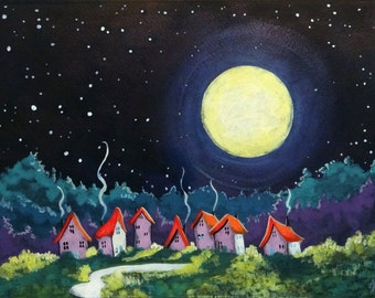 The Moon says Goodnight original acrylic Cottage painting
