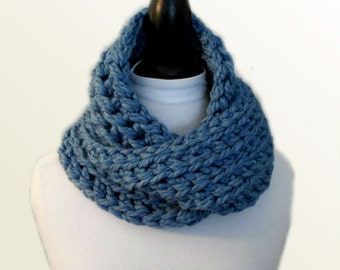 Squishy Infinity Scarf Cowl Blue Seamist Infiniti Scarf Wool Super Chunky Womens Fashion Statement Scarf