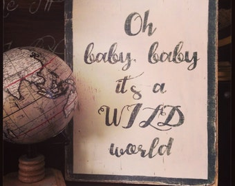 Wild World custom wood sign