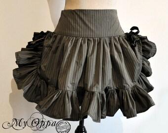 Skirt short Steampunk black/gray stripes Miss Holmes