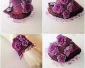 Crochet Beaded Bracelet Cuff. Crochet Jewelry. Freeform Crochet Cuff. Lilac Purple Ink  Pink Crochet Bracelet