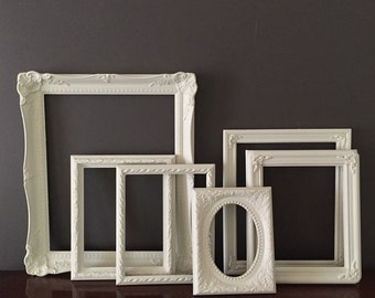 Collection of 6 Vintage Cottage Frames, White Painted Vintage  Shabby Cottage Frames, Cottage Farmhouse Decor, Frame Collection,