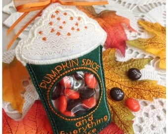 Pumpkin Spice Latte Candy Holder - Machine Embroidery Instant Download Design