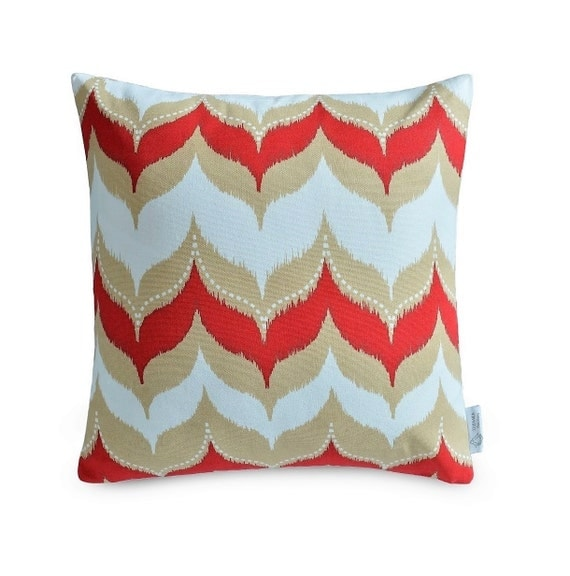 Red And Beige Throw Pillows : Red Beige Geometric Dome Cushion IKAT Throw Pillow Case Red