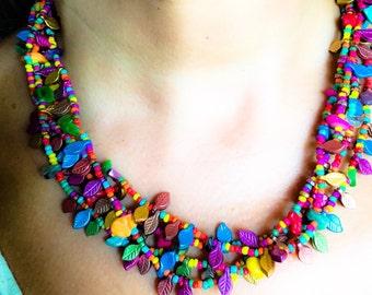 Vibrant colourful Fiesta necklace