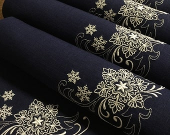 Linen Placemats Set of 6 Navy Blue White Christmas Gift Table Decor