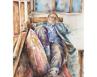 Original watercolor figurative painting ,old people in art,old man painting,watercolor art,original painting