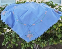 CLEARANCE: Vintage 1960s Blue Embroidered Tablecloth / Square Tablecloth / Basket And Flowers / Fine Linens / Table Linen / Tablecloth