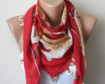 orange scarf brown flower white cream cotton turkish yemeni oya handmade