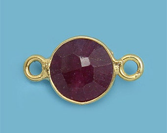 1 ea. Tiny 6mm Red Ruby and Vermeil Bezel Connecor Link Birthstone