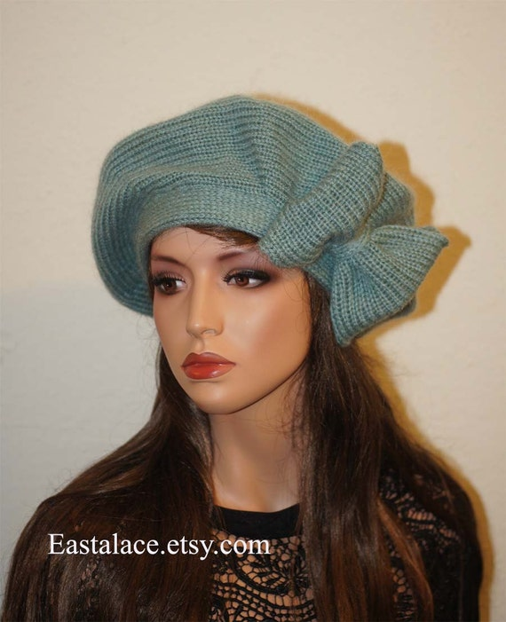 Mohair Beret Hand Knit Women Hat Beret with Bow slouchy