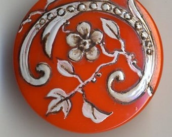 Hand painted Czech glass button orange with white flower  - size 12, 27 mm FCB 1149