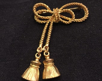 Vintage Brooch, Gold Tone, Bow with Tassels