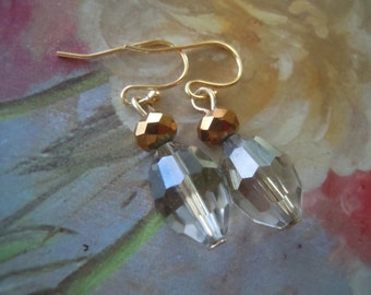Earrings Clear Faceted Crystals, with a Hue of Smoky Gray,  Rustic Amber Accent Stones