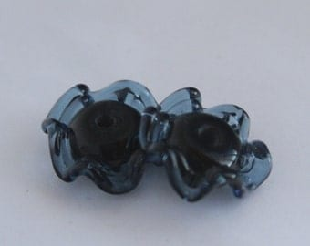 Lampwork Destash White and Transparent Blue Glass Ruffle Beads Pair MADE TO ORDER