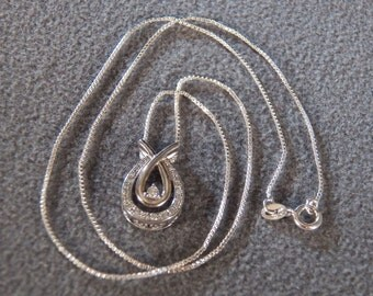 Vintage Sterling Silver Exquisite 23 Genuine Diamond Pendant Charm Chain  Necklace, Just Gorgeous!~~      **Rl