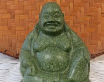 SaLE was 33.00 Laughing Buddha Statue Green Stone Soapstone? - Buddha