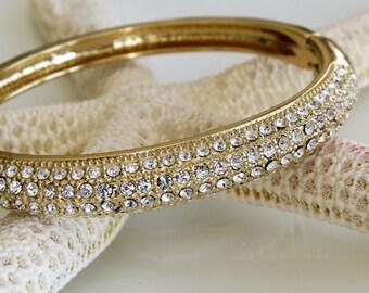 Rhinestone Clamper Bracelet Gold Tone - High Fashion - Wedding Jewelry - Elegant