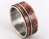 Mixed metal mens wedding ring - anniversary ring,mens engagement ring,mens wedding band ring,wide band ring,rustic mens ring,silver copper
