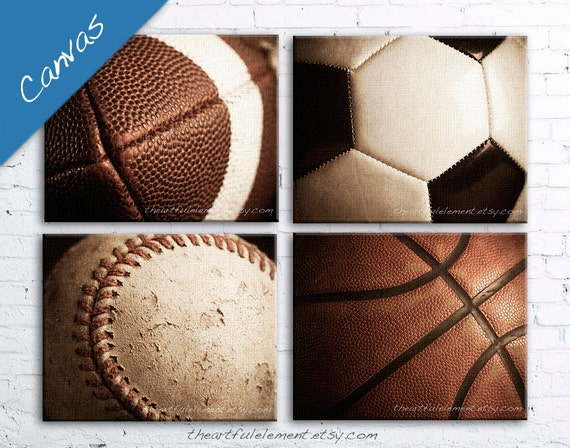 Sports canvas, Boys room decor, Man cave wall art, Sports gifts, teen room, game room art, Set of 4 / Basketball, Football, Baseball, Soccer