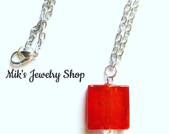 Chunky Red Necklace, Red Pendant Necklace, Red Bead Necklace