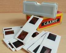 "vintage stereoscope ""Salut"" / Soviet stereoscope / portable slide viewer / slide projector / 3-D viewer"