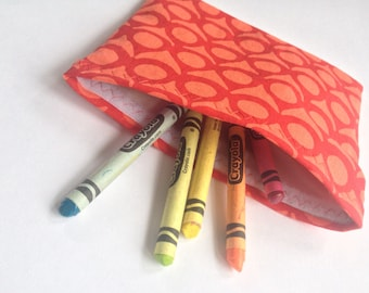 """Reusable Snack Bag - Screen Printed Linen/Cotton - 5""""x6.5"""" - Red on Red"""