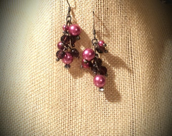 Dark Pink Rose Colored Glass Pearls and Plum Glass Discs on Graphite Finished Chain Links and Earrings Rose and Plum Colored Earrings