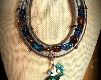 Blue Brown Gold Beaded Lucky Hanging Horseshoe with Lampwork Glass Sea Horse Pendant Decorative Horseshoe Made in Colorado Horseshoe Art