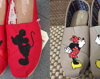 Hand Painted Mickey and Minnie Red or Tan Toms