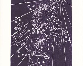 Magical Unicorn: ORIGINAL linoleum relief Print; unicorn, magic, illustration