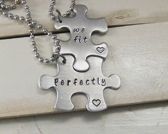 Puzzle Piece Necklace Set, We fit perfectly, Couples Gift Set, Custom Puzzle Piece Necklace