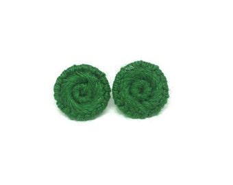 Spring Green Button Stud Earrings
