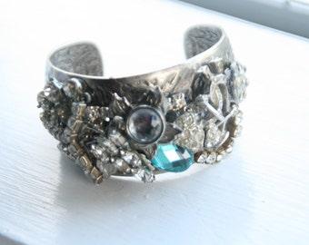 Shabby Chic Vintage Mix Rhinestone Cuff Bracelet