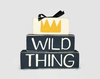 Wild Things Crown Wood Block Decor, Where The Wild Things Are Baby Gift, Toddler Room Decor, Baby Boy Nursery Decor, Nursery Wood Blocks