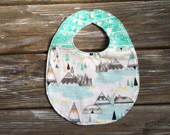 Bib ~ Two Toned/Quilted ~ Woodland//Geo//Tribal//Trees//Buck//Forest//TeePee//Native