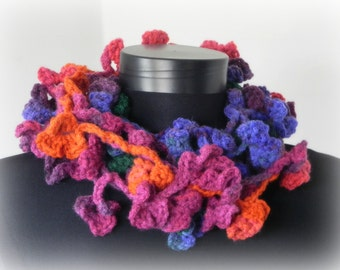 Gypsy flowers, crocheted flower lariat, spring gift for her, intense colors, crocheted scarflette