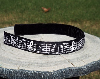 Black with White Music Notes Headband