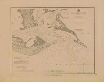 Caloosa Entrance - Sanibel Island (east end) - 1881 Map Old Nautical Chart - Florida Harbors West 475